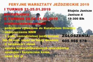 Feryjne warsztaty Jeździeckie 2019