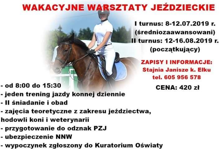 Wakacyjne warsztaty jeździeckie (Lipiec- Sierpień 2019)